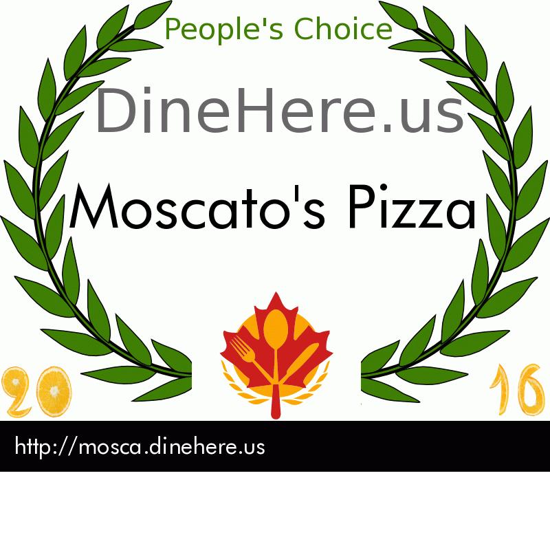 Moscato's Pizza DineHere.us 2016 Award Winner